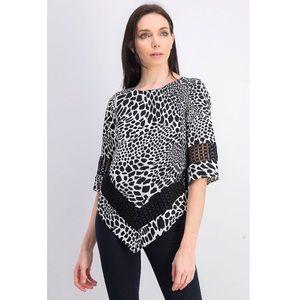 Alfani Printed Crochet-Trim Top Animalia PP NWT